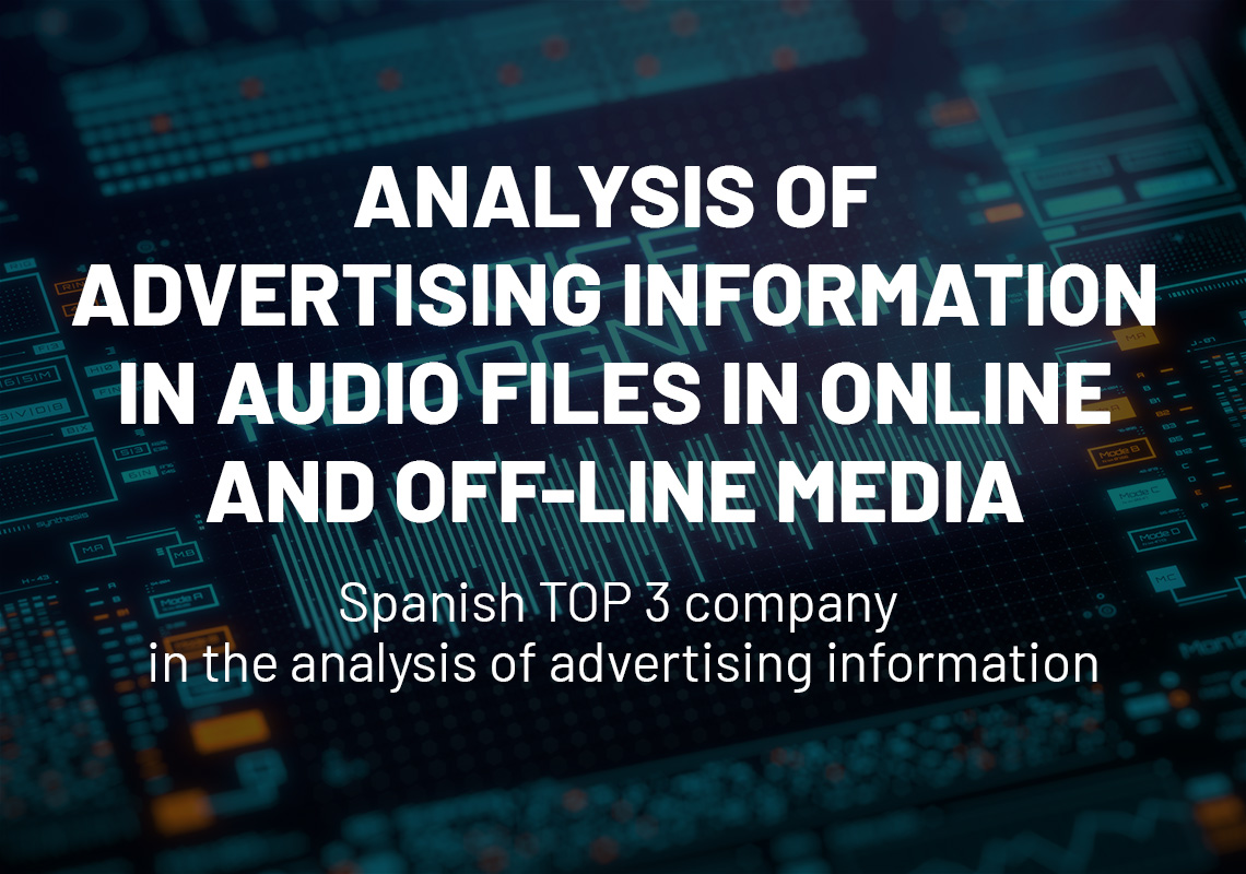 Analysis of advertising information in audio files in online and off-line media